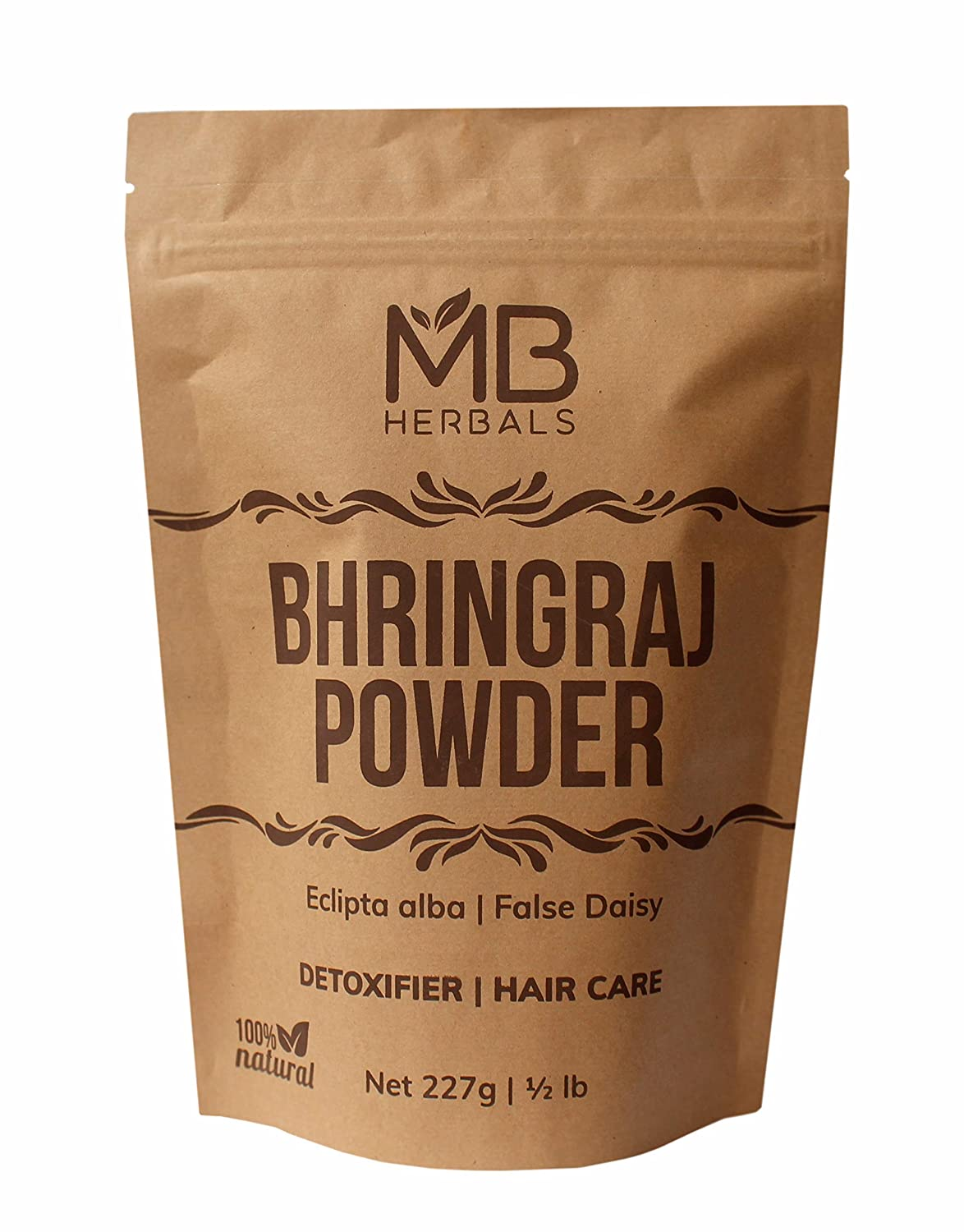 MB Herbals Pure Bhringraj Powder 227g   8.00 oz   Half Pound   Pure Bhringaraj Powder   100% Pure Eclipta alba Powder   Promotes Healthy Hair Growth   Increases Hair Thickness