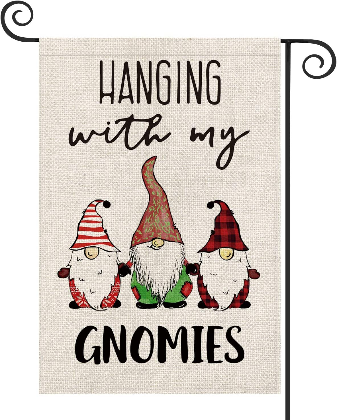 AVOIN Hanging with My Gnomies Buffalo Check Plaid Stripe Gnomes Garden Flag Vertical Double Sized, Christmas Winter Holiday Party Yard Outdoor Decoration 12.5 x 18 Inch