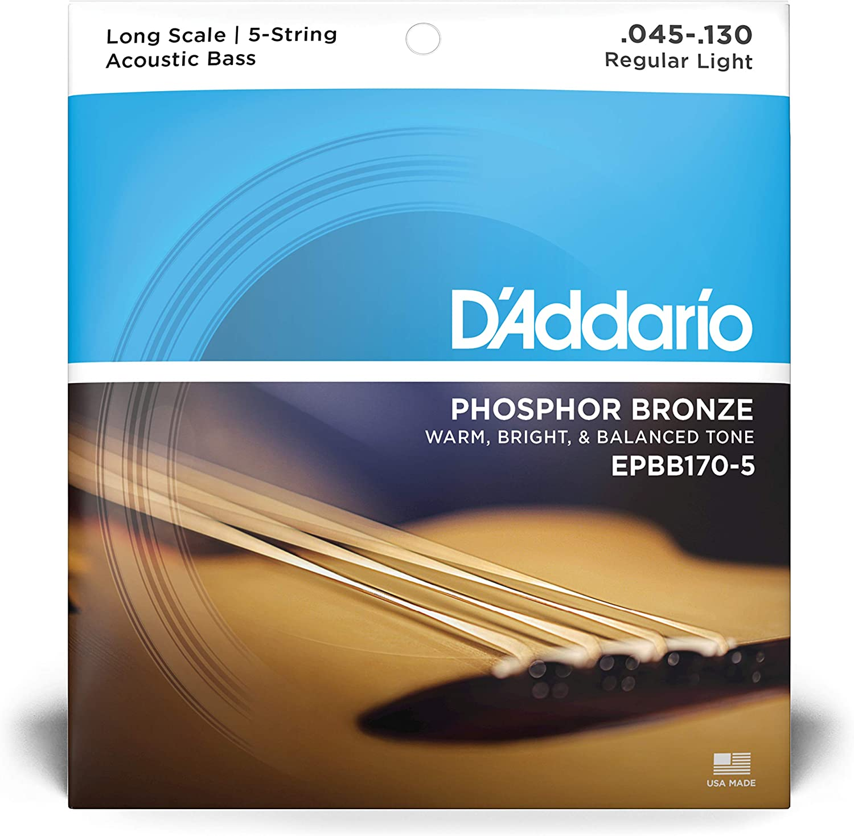 45-130 D/'Addario EPBB170-5 Phosphor Bronze Acoustic Bass 5-Strings Long Scale
