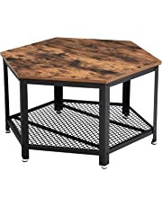 VASAGLE Coffee Table, Industrial Tea Table in Living Room Office, Stable Metal Frame and Mesh Shelf, Hexagonal LCT16X