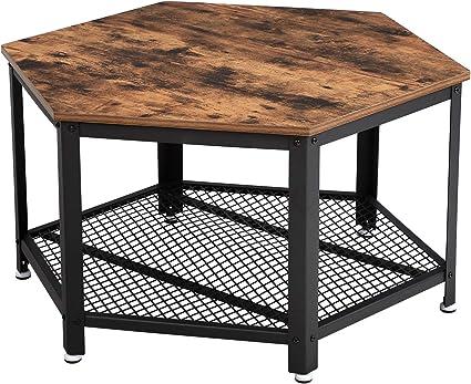 Vasagle Table Basse Vintage Table D Appoint Table De Salon Armature Metallique Stable Etagere De Rangement En Treillis Hexagonal Aspect Bois Lct16x Amazon Fr Cuisine Maison