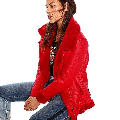 VENCA Cazadora Corte Motero Mujer by Vencastyle - 017871, Rojo, S: Amazon.es: Ropa y accesorios