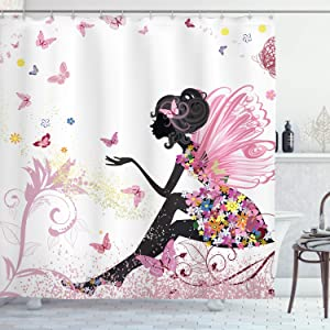 """Ambesonne Fashion Shower Curtain, Fairy Girl with Wings in a Floral Dress Fantasy Garden Flying Butterflies, Cloth Fabric Bathroom Decor Set with Hooks, 75"""" Long, Pink White"""