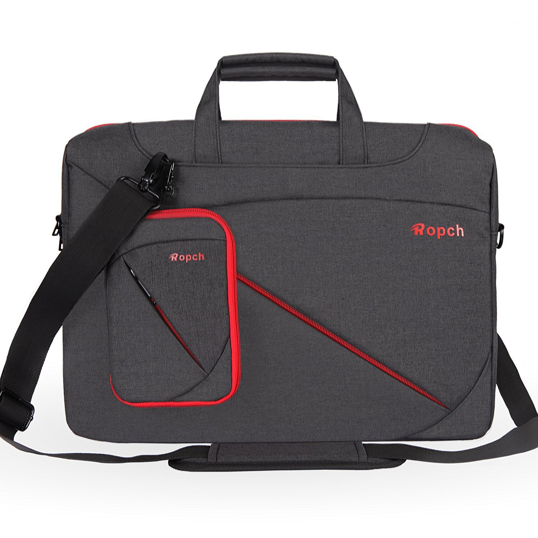 Ropch 17 17.3 Inch Laptop Bag, Nylon with Shoulder Strap and Handle Messenger Shoulder Bag Notebook Computer Case for 17-17.3 Inch Laptop/Notebook/Ultrabook/Chromebook Computers, Black