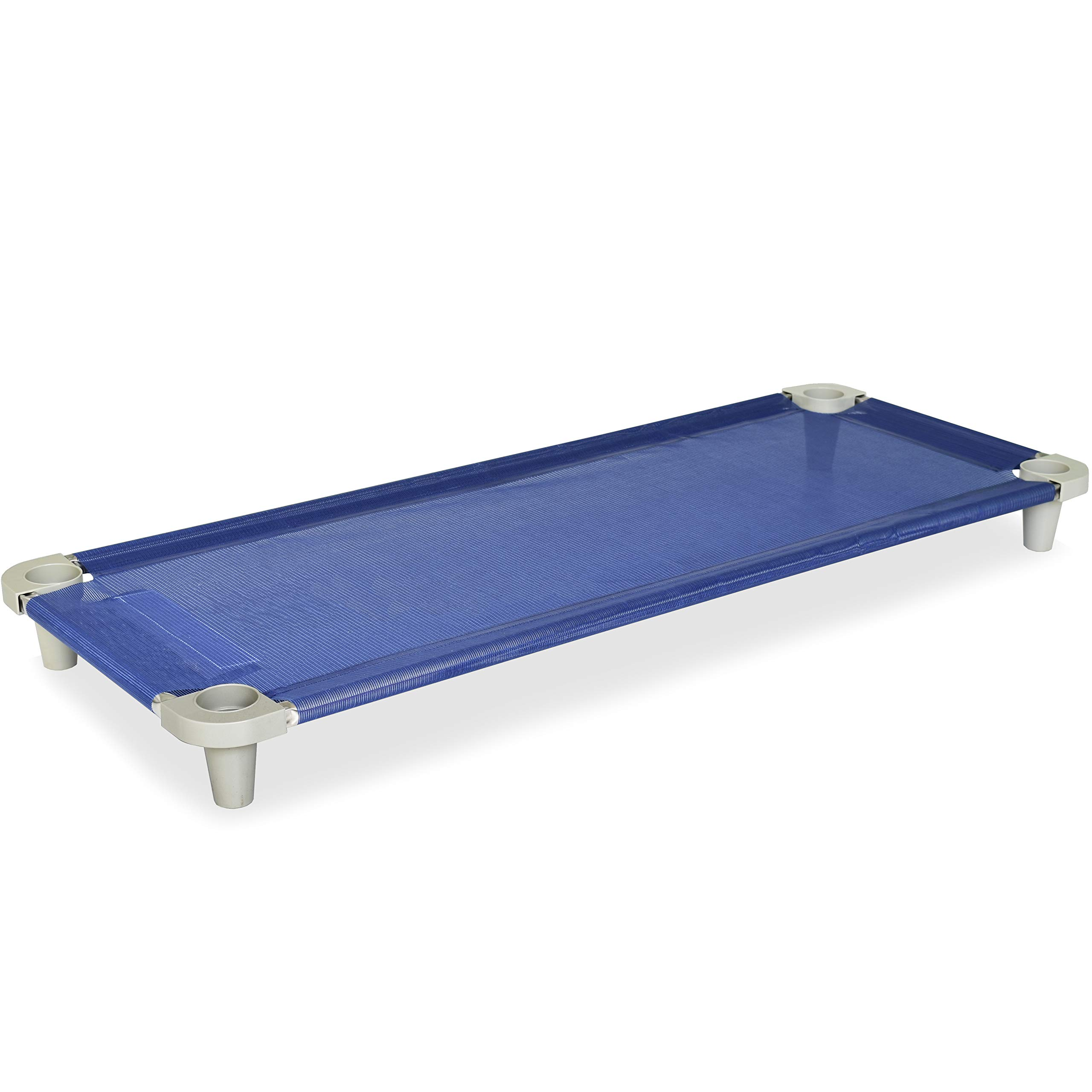 Acrimet Premium Stackable Nap Cot (Stainless Steel Tubes) (Blue Cot - Grey Feet) (1 Unit) by Acrimet