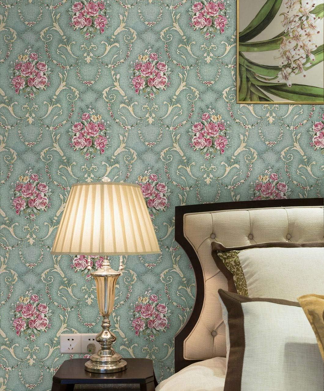 "Green Floral Wallpaper Retro Peel and Stick Wallpaper Self Adhesive Removable Vintage Rustic Wallpaper 17.7""X118"" Waterproof Vinyl Decorative Countertop Cabinet Bedroom Easy to Cut"