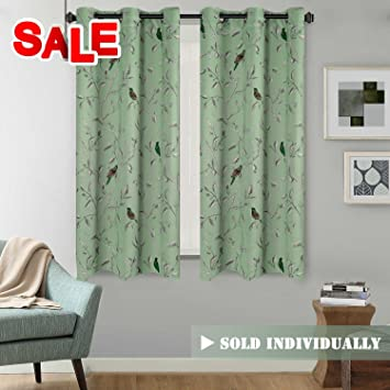 H.Versailtex Rustic Turquoise Birds In Quiet Green Base Thermal Insulated  Blackout Curtains For Bedroom
