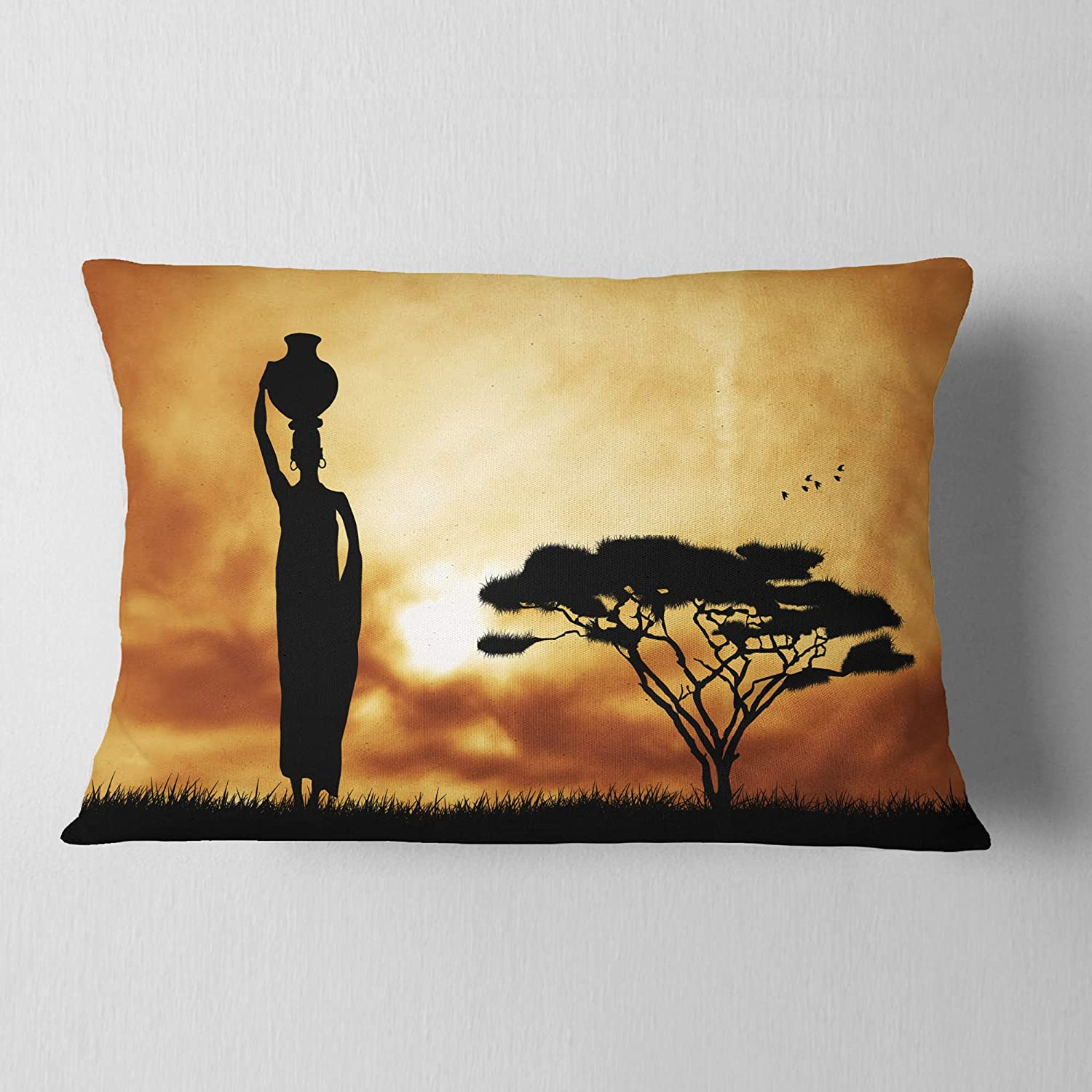 Insert Side Designart CU12979-12-20 Woman and Lonely Tree African Landscape Printed Lumbar Cushion Cover for Living Room in x 20 in Sofa Throw Pillow 12 in