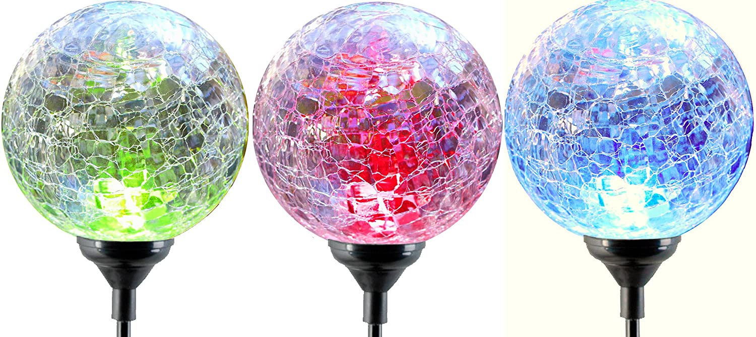 Beau Color Changing Solar LED Glass Ball Garden Light Stakes