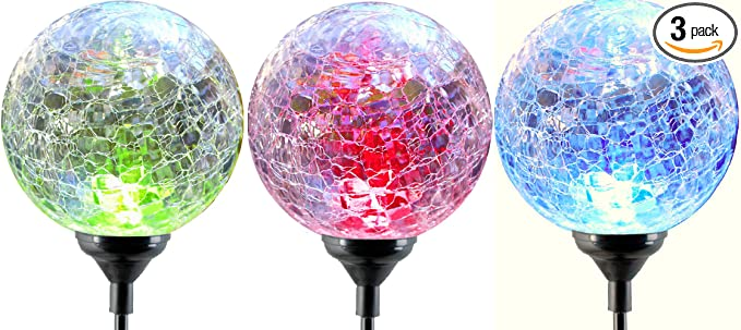 Moonrays LED Solar Path Lights In Glass Ball Design With Color Changing  Feature (3