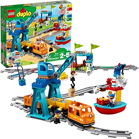 LEGO DUPLO Cargo Train 10875 Exclusive Battery-Operated Building Blocks Set, Best Engineering and STEM Toy for Toddlers (105 Pieces)