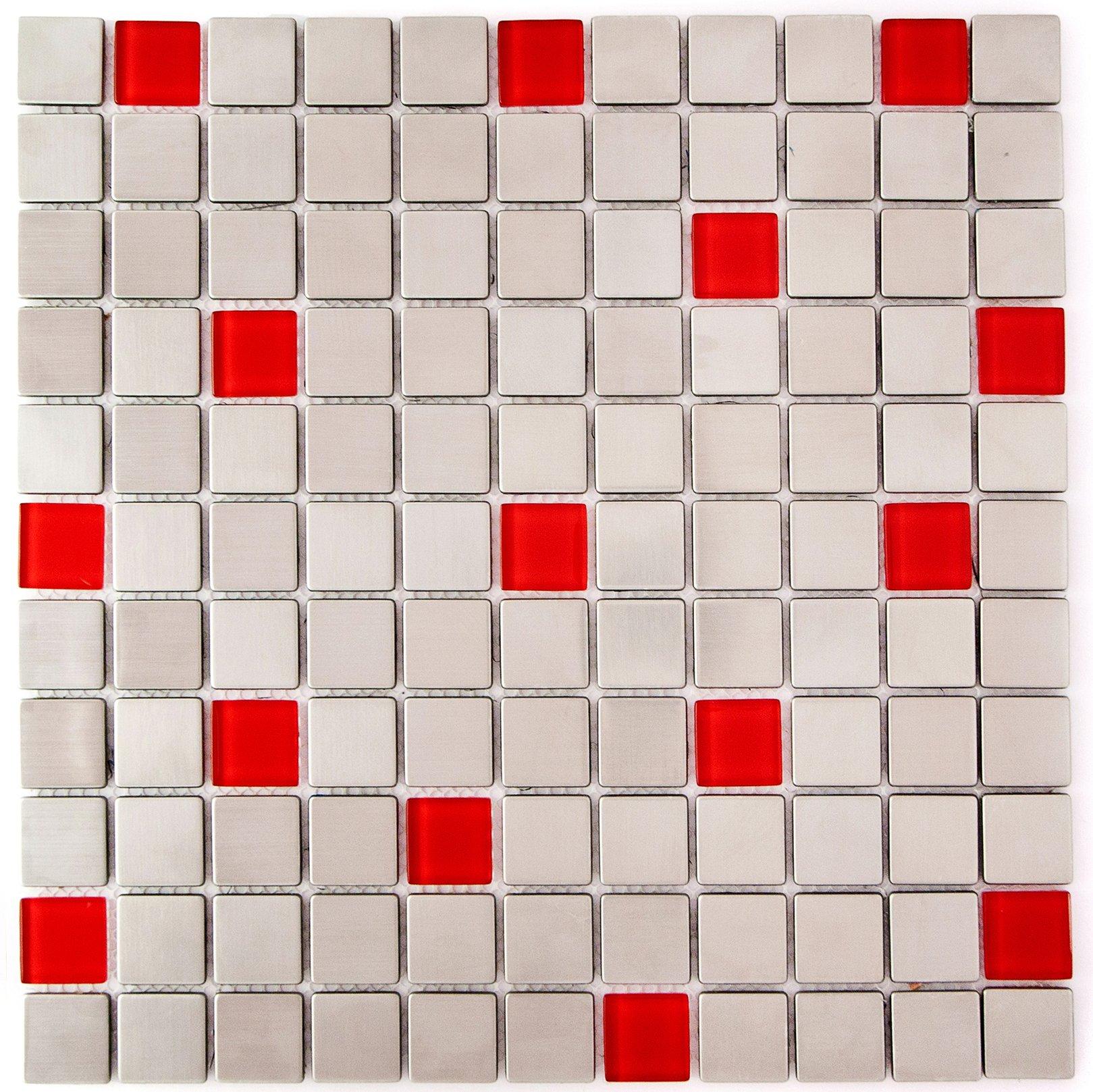 Glass Steel Mosaic Tile Backsplash - 11.50'' x11.50'' Red - Kitchen Bath Wall