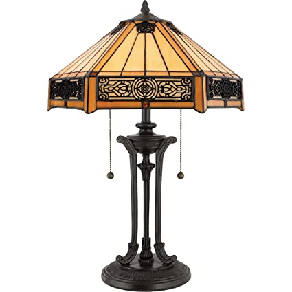 Quoizel TF6669VB 2 Light Tiffany Table Lamp, Small, Vintage Bronze