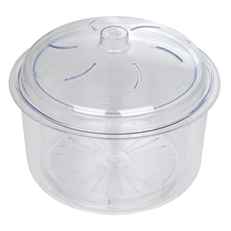 Dexam 17840347 - Cocedor de arroz y Verduras para microondas (2,3 l, 3 Piezas, Incluye Cesta y Tapa), Color Transparente
