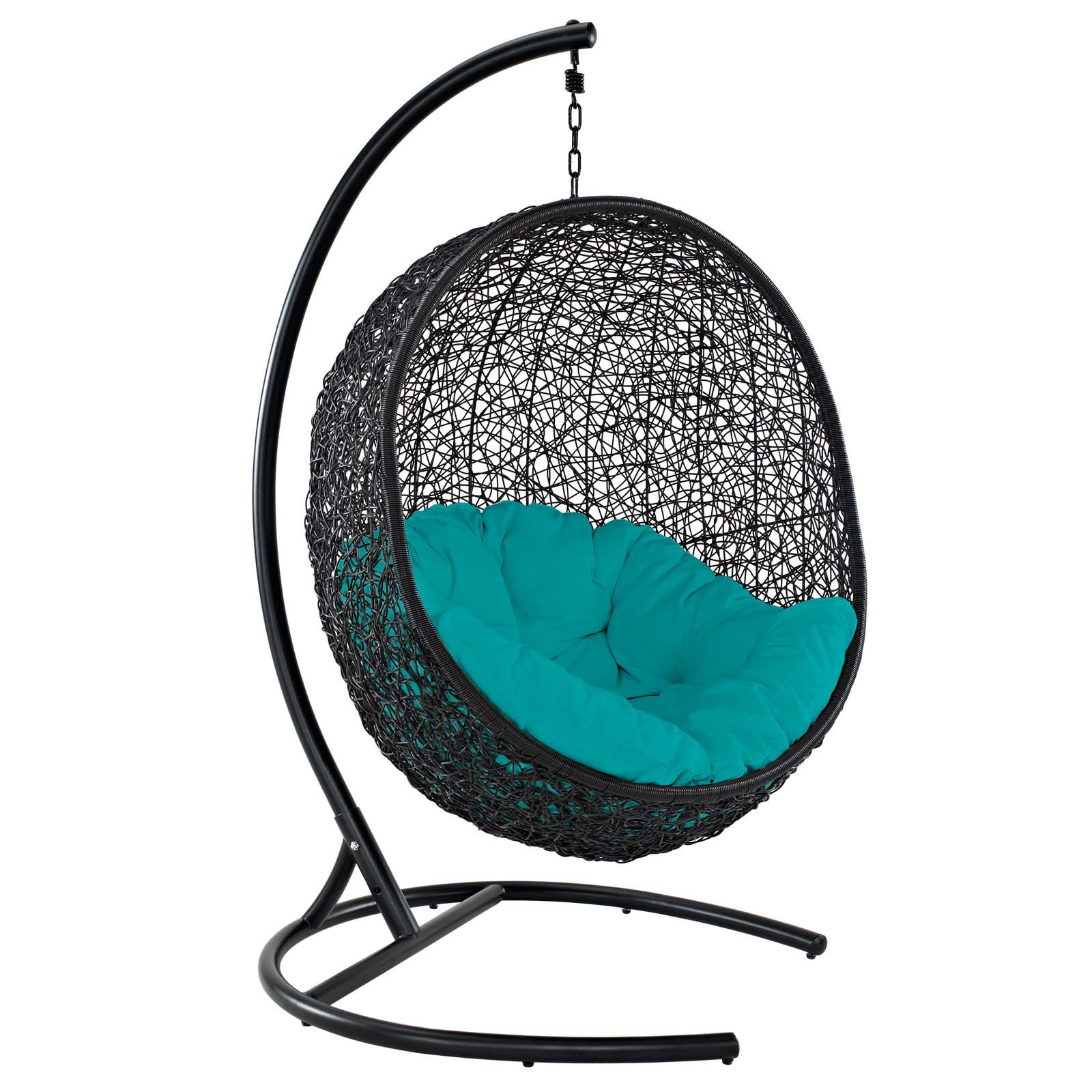 Modway EEI-739-TRQ-SET Encase Swing Outdoor Patio Lounge Chair, With Stand, Turquoise