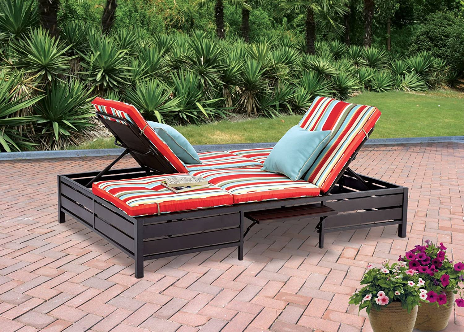 Double lounge chair outdoor - Amazon Com Double Chaise Lounger This Red Stripe Outdoor Chaise Lounge Is Comfortable Sun Patio Furniture Guaranteed Which Can Also Be Used In Your