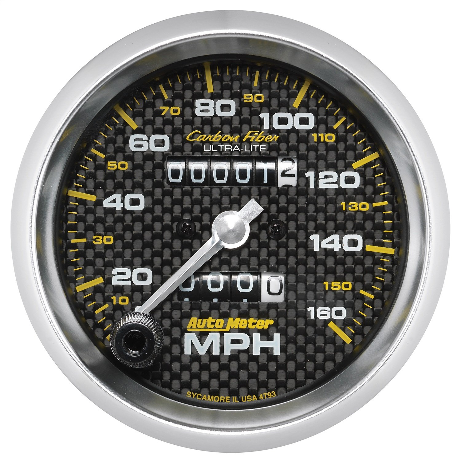 AUTO METER 4793 Carbon Fiber 3-3/8'' Mechanical Speedometer (0-160 MPH, 85.7mm) by AUTO METER