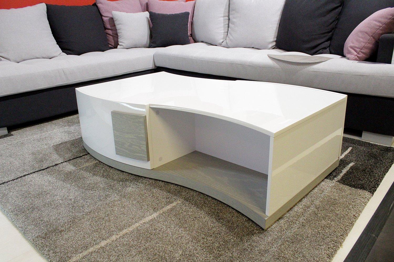 Table Basse laquée pas cher  - Blanc et Gris - Design Moderne - Salon Rangement -