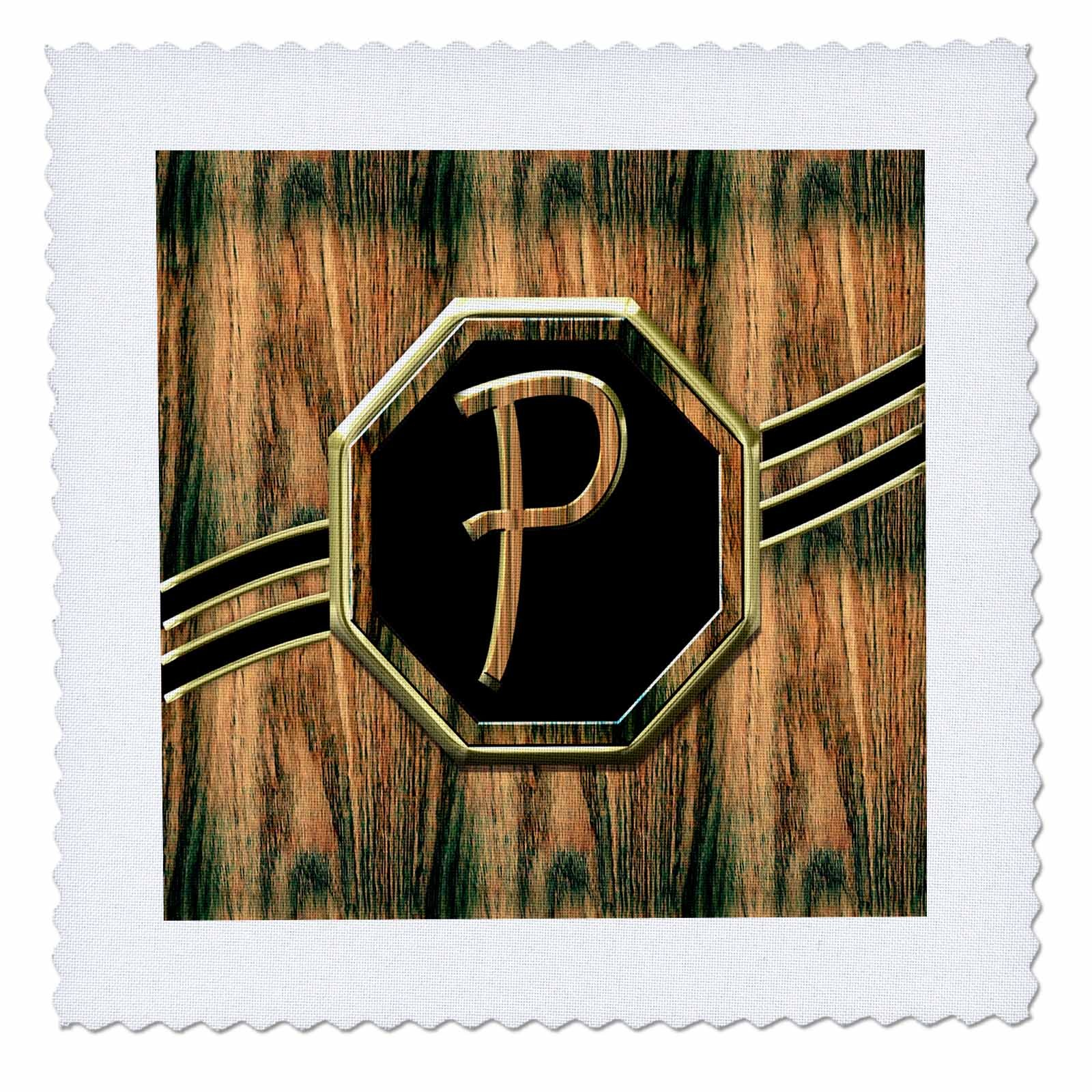 3D Rose Elegant Faux Gold and Wood Grain Monogram Letter P Quilt Square 12 by 12 inch, 12 x 12