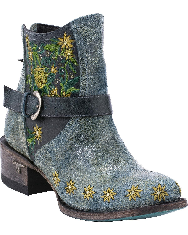 Lane Women's Boho Love Denim Boot Round Toe Turquoise 8 M