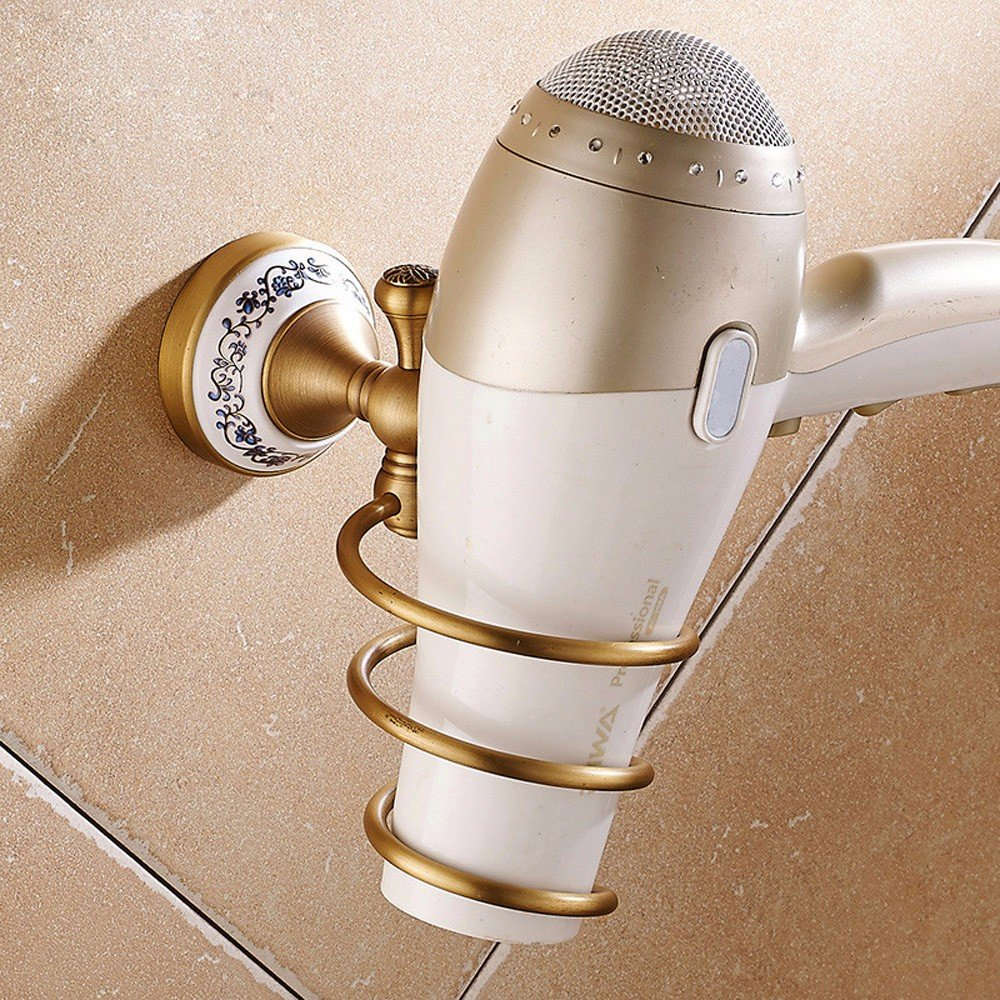 OLQMY-Bathroom Wall Hanging, Air Drum Rack, All Copper, European Style Retro Wall Hanging Type Hair Dryer Frame