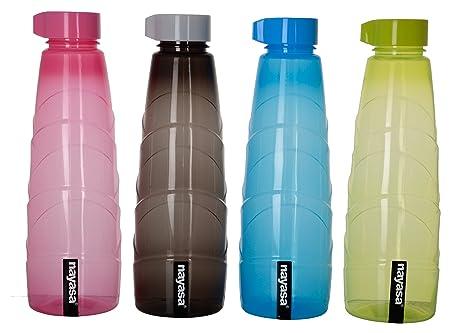Nayasa Coco Plastic Fridge Water Bottle 1000 ml, Set of 1, Multicolor Water Bottles
