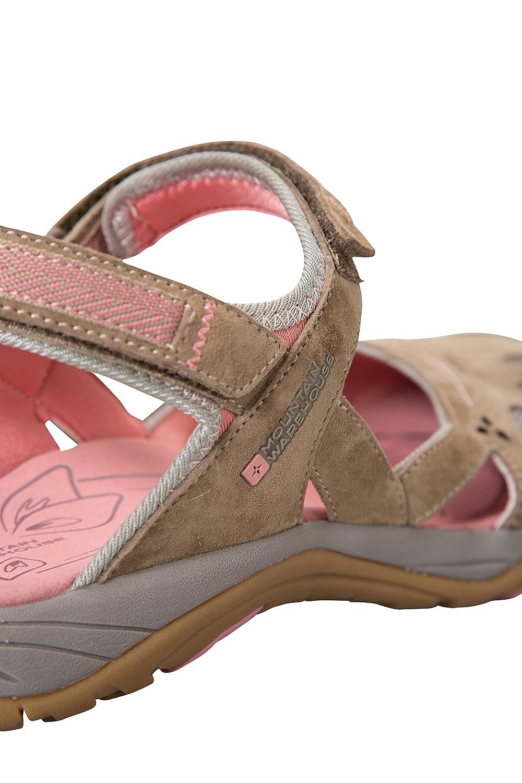 Mountain Warehouse Jasmine Geschlossene Sandalen für Damen - Sommerschuhe Wildleder & Mesh, Flipflops mit Neoprenfutter - Für Wanderungen, Reisen, Strand und Pool Braun 38 EU