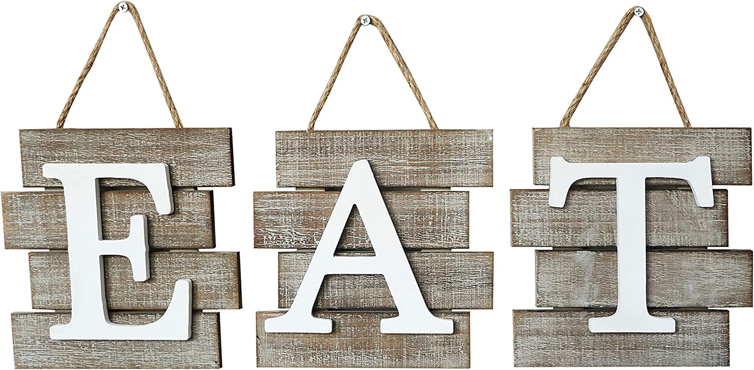 Barnyard Designs Eat Sign Wall Decor for Kitchen and Home, Distressed  Natural, Rustic Farmhouse Country Decorative Wall Art 24\
