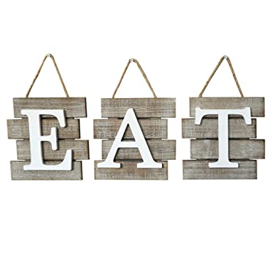 Barnyard Designs Eat Sign Wall Decor for Kitchen and Home, Distressed Natural, Rustic Farmhouse Country Decorative Wall Art 24  x 8""