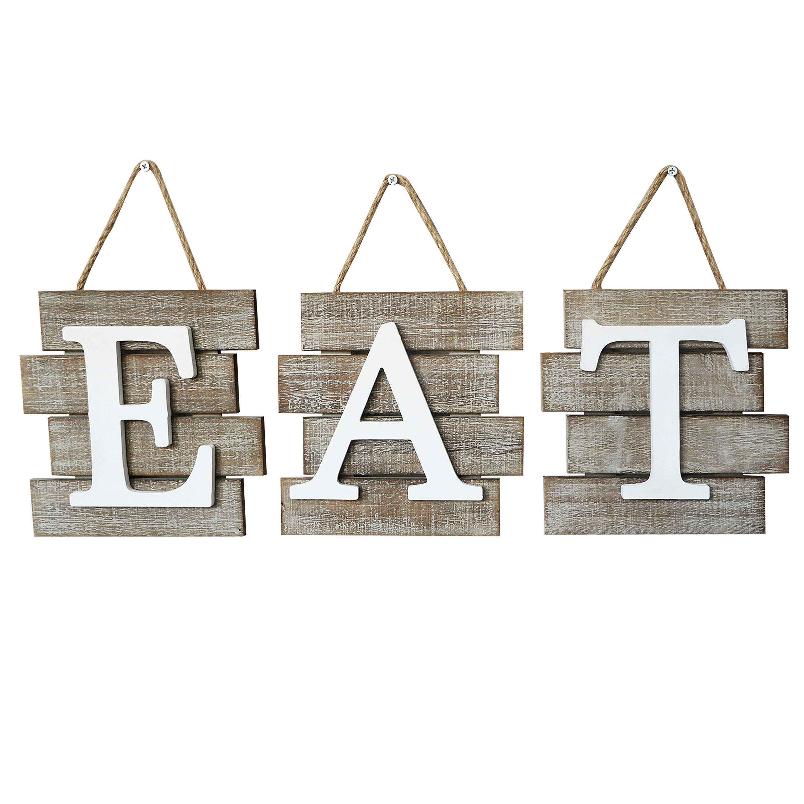 Barnyard Designs Eat Sign Wall Decor, Rustic Farmhouse Decoration for Kitchen and Home, Decorative Hanging Wooden Letters, Country Wall Art, Distressed Brown and White, 24″ x 8""
