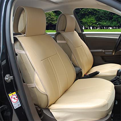 120903S Tan 2 Front Car Seat Cover Cushions Leather Like Vinyl, Compatible  To Nissan