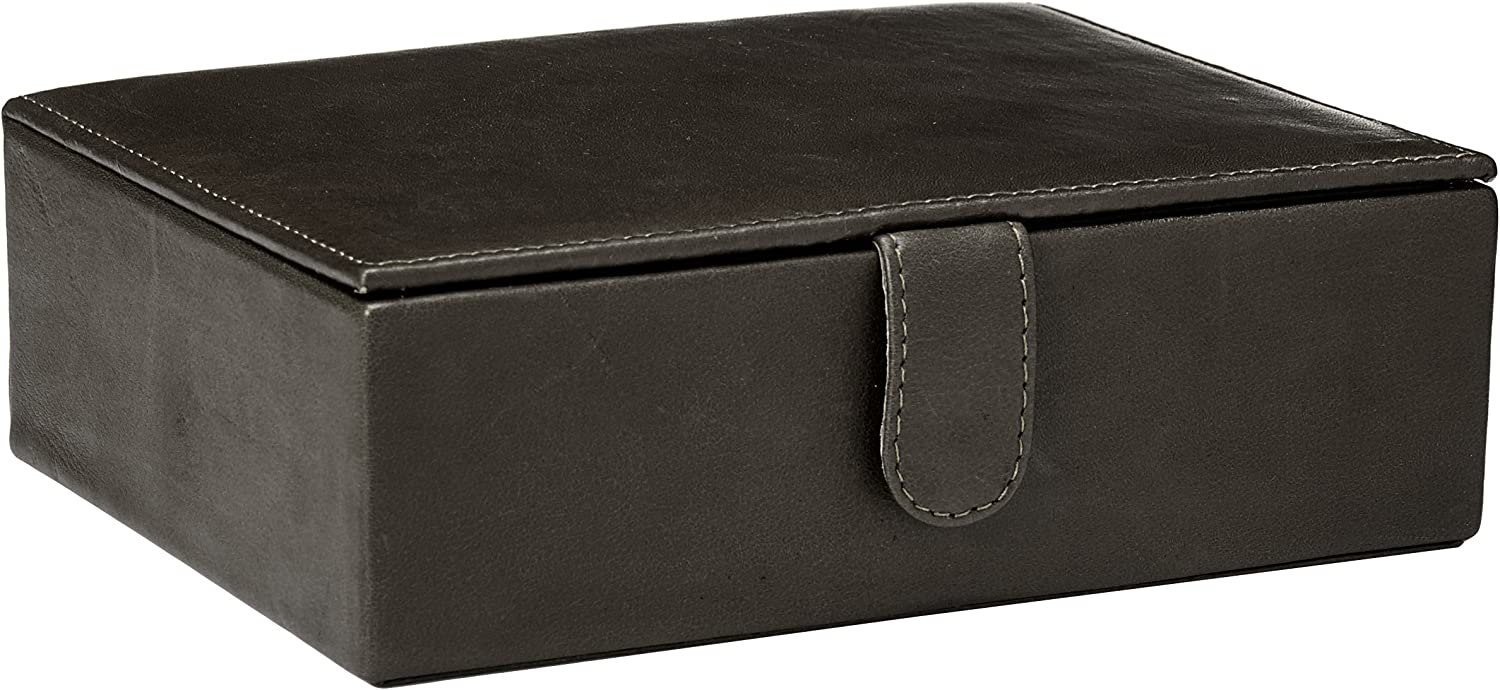 Piel Leather Large Leather Gift Box Blk, Black, One Size