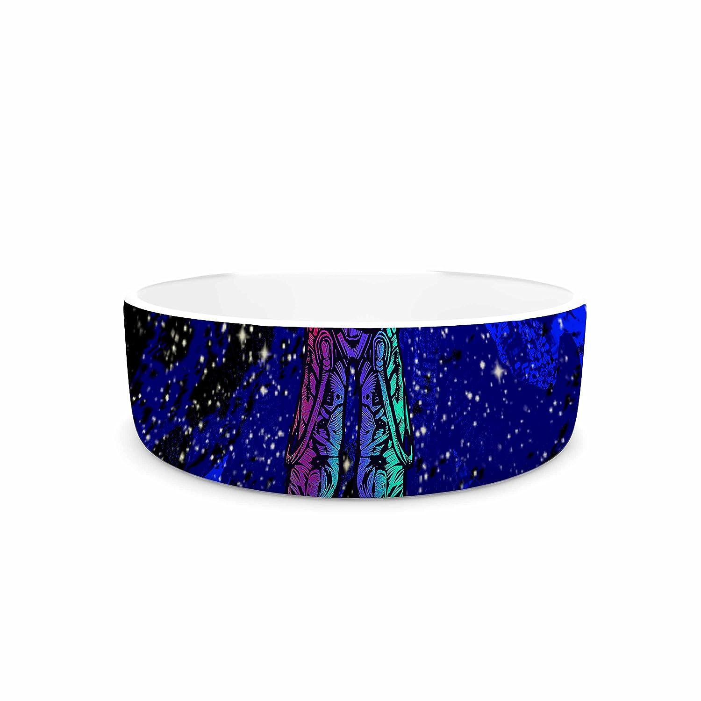 KESS InHouse BarmalisiRTB King of Planets bluee Red Digital Pet Bowl, 7  Diameter