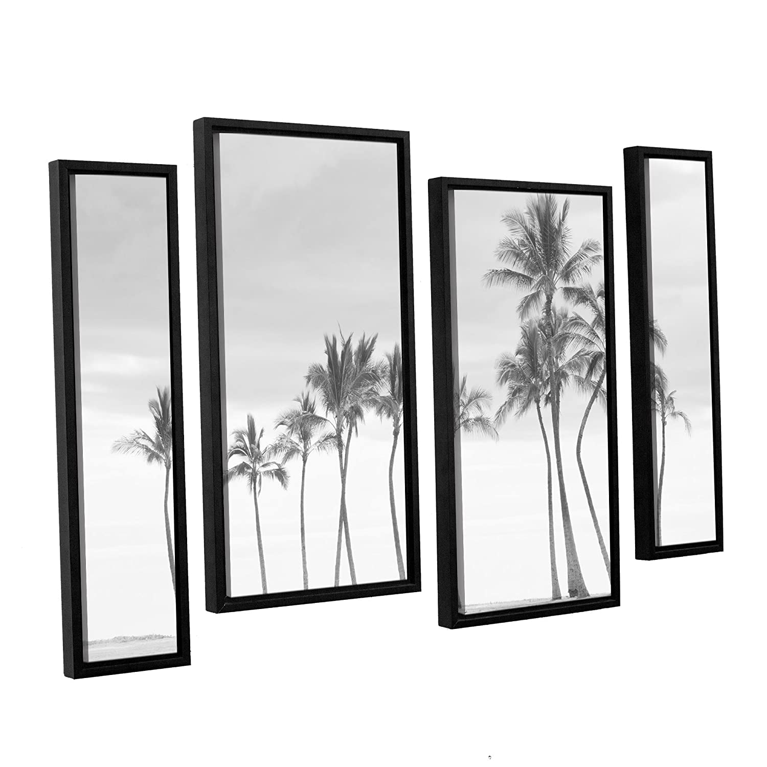 36X54 Ramona Murdock Paradise In B/&W 4 Piece Floater Framed Canvas Staggered Set