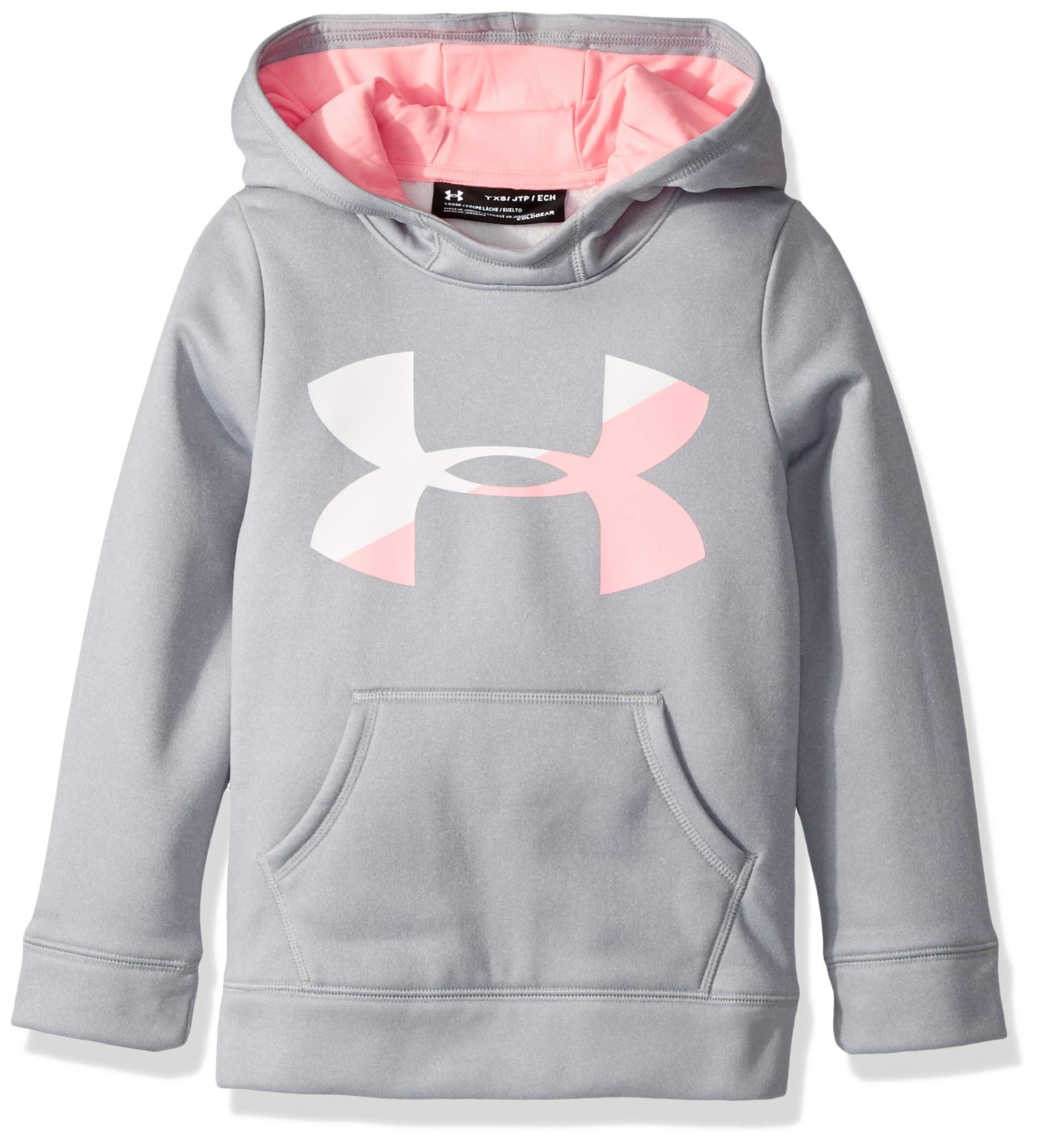 Under Armour Girls' Armour Fleece Big Logo Hoodie,Overcast Gray (941)/Pop Pink, Youth X-Small