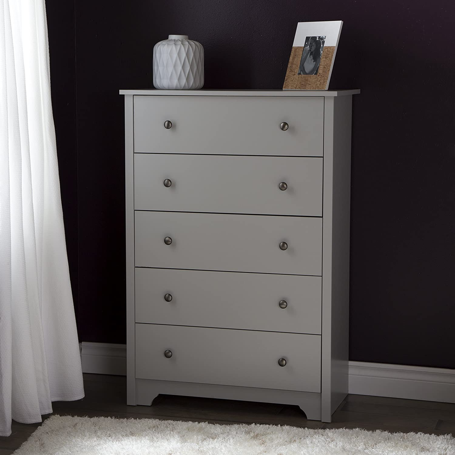 South Shore Vito 5-Drawer Chest, Soft Gray 9021035