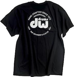 DW Drum Workshop Short Sleeve Tee, Heavy Cotton, Black with DW Logo, M