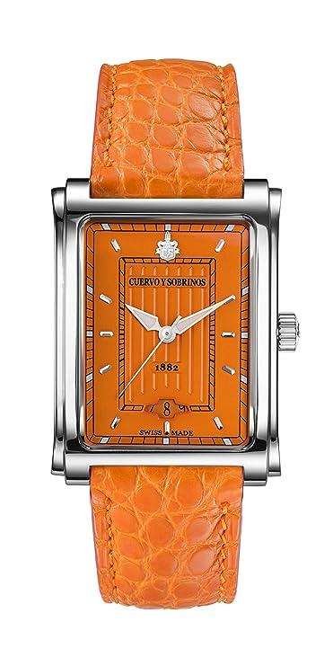 Cuervo Y Sobrinos 1015.1or Hombres de Swiss reloj de lujo prominente caramelo Color naranja: Cuervo y Sobrinos: Amazon.es: Relojes
