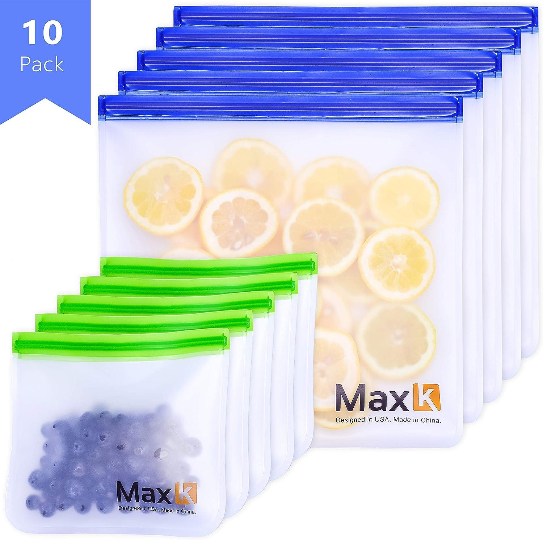 Max K Reusable Ziploc Bags - Reusable Storage Bags - Reusable Freezer Bags - BPA Free PEVA, Reuseable Large Airtight Bag - Pack of 10 (5 x Sandwich, 5 x Gallon)