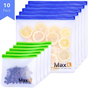 Max K Reusable Ziploc Bags - Reusable Storage Bags - Reusable Freezer Bags - BPA Free PEVA, Reuseable Large Airtight Bag - Pack of 10 (5 x Sandwich, 5 x Gallon)