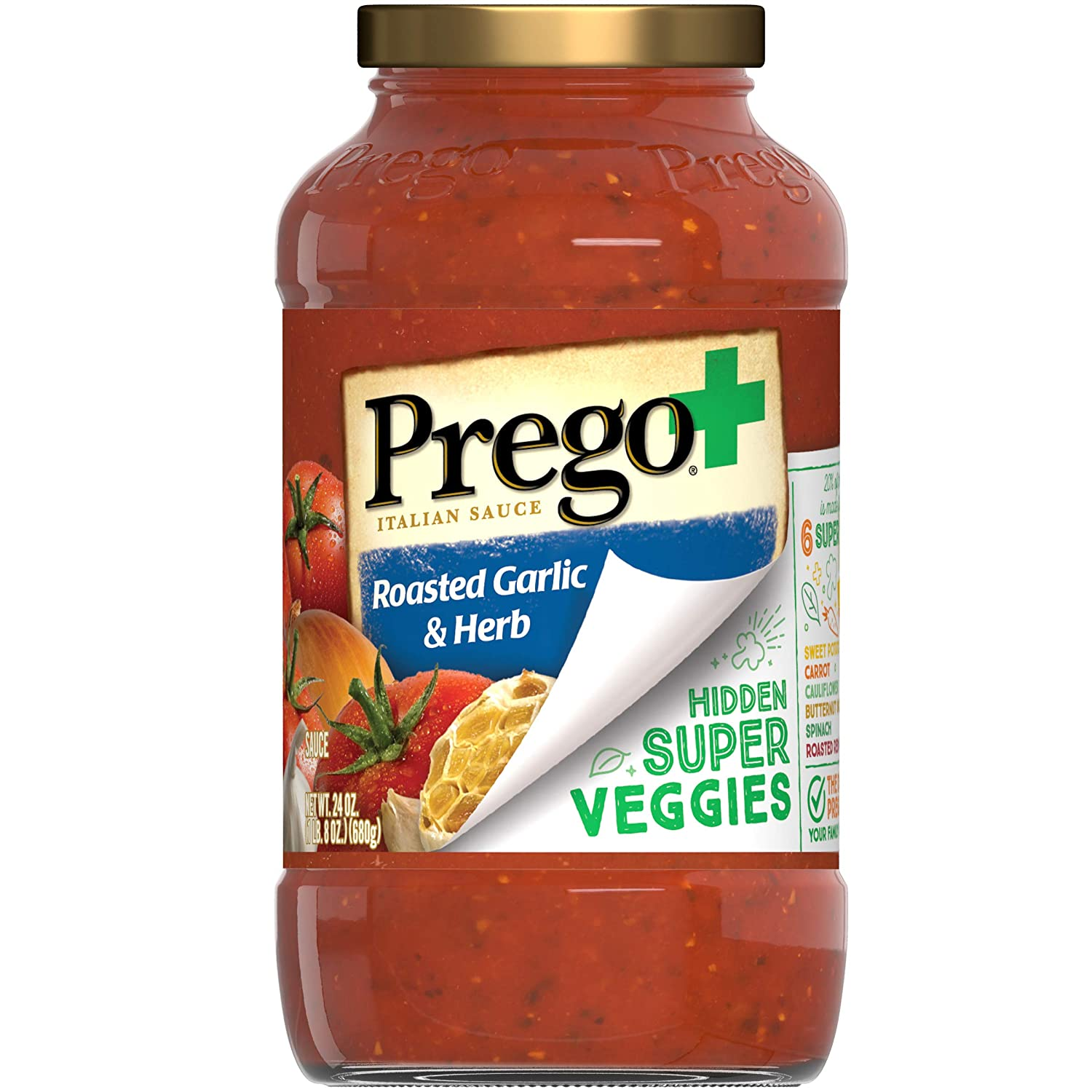 Prego+ Hidden Super Veggies Italian Tomato Sauce with Roasted Garlic and Herb, 24 Ounce Jar (Pack of 6)
