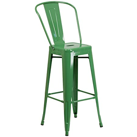 Flash Furniture 30 High Green Metal Indoor-Outdoor Barstool with Back