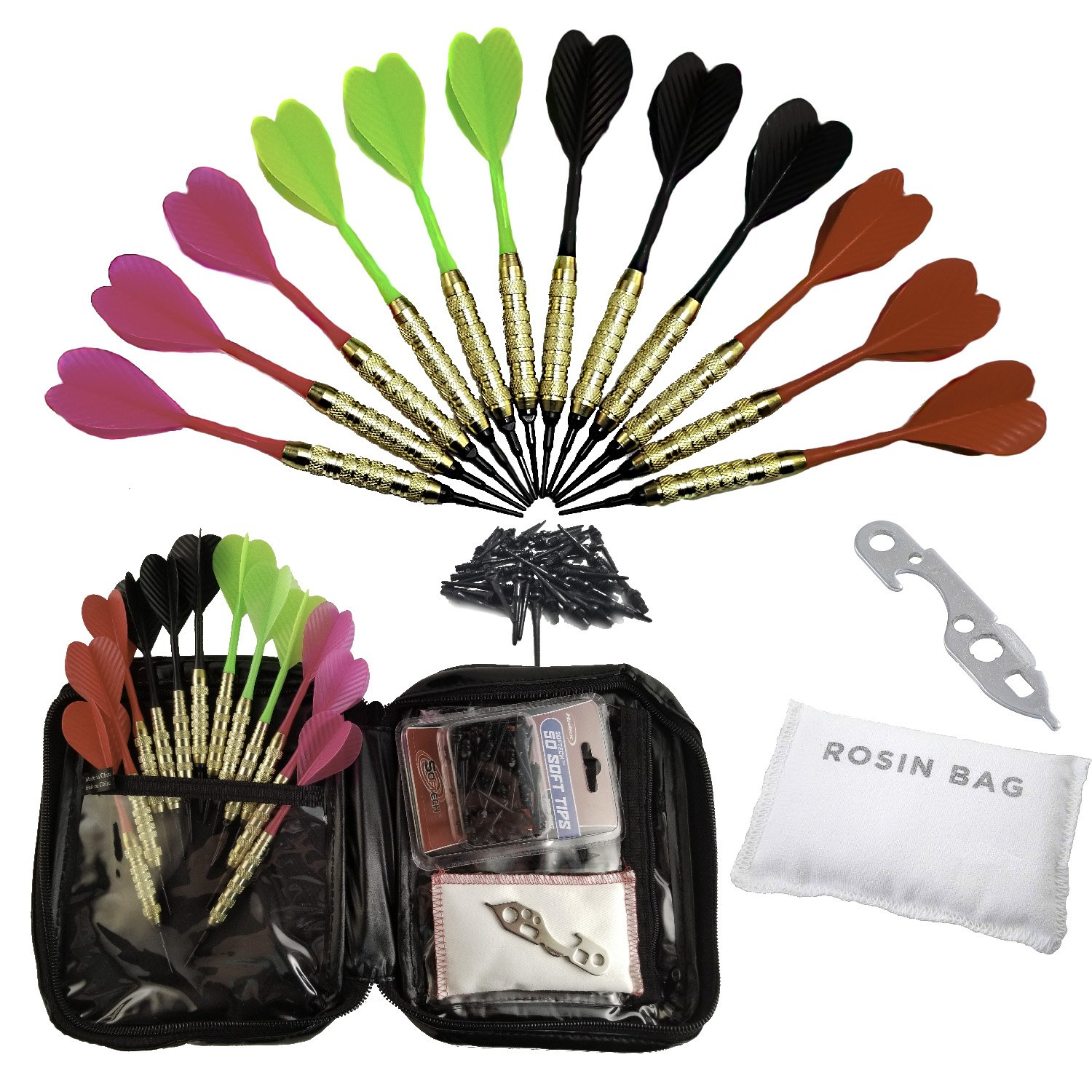 Set of 12 Hot Pink & Hot Green Brass 2ba 16gm Soft Tip Darts + 24 Black Dart Tips, Rosin Bag, Case & Dart Wrench