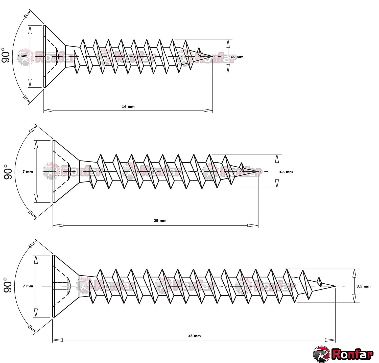 PZ RONFAR Tornillo de madera de aglomerado de cabeza plana Pozidrive completamente roscado 3.5 x 16 mm 100 piezas