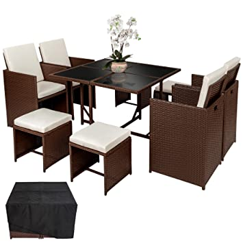 TecTake Ensemble Salon de Jardin Poly Rotin | 4 chaises 4 tabouret 1 table  | Housse de Protection | Vis en Acier Inoxydable - diverses couleurs au ...