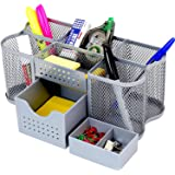 DecoBros Desk Supplies Organizer Caddy, Silver