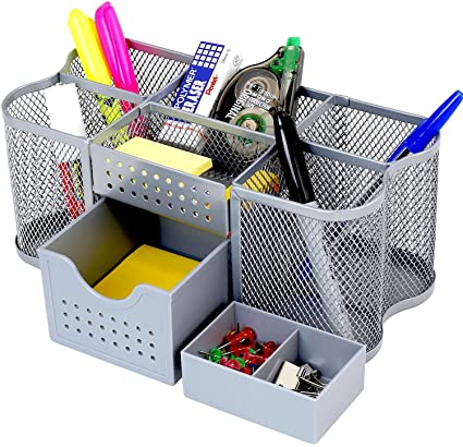 Amazon.com : DecoBros Desk Supplies Organizer Caddy, Silver : Office ...