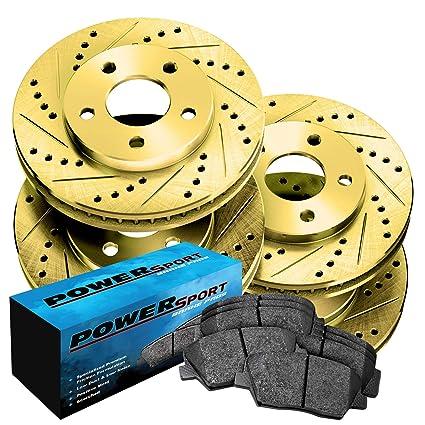 Fit Land Rover Range Rover Sport Rear Gold Slotted Brake Rotors+Ceramic Pads Brake Kits