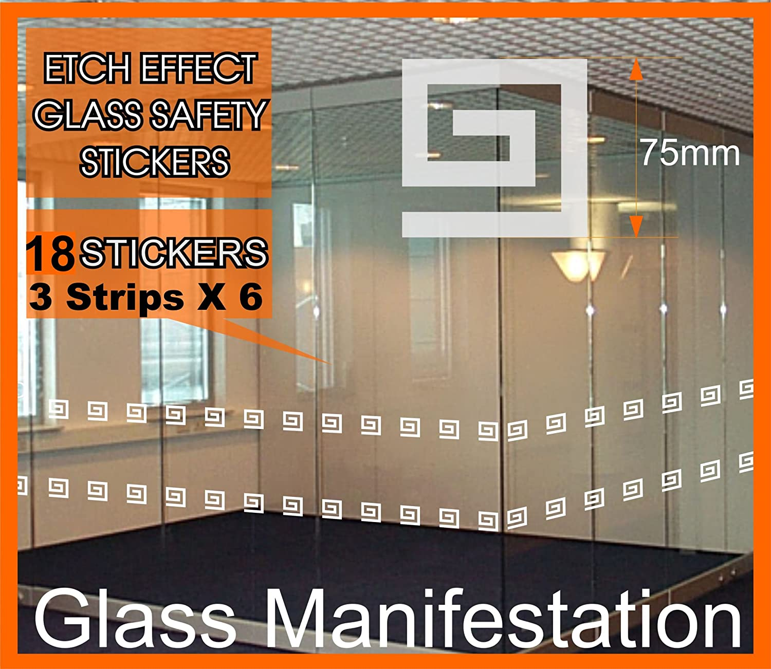 Pack of 18 x 75mm etch effect glass safety stickers front shop patio window doors easy application professional smart look pre spaced 2250mm in length