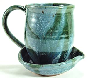 Midnight Sun Pottery Ceramic Microwave Bacon Cooker - Glacier with Green